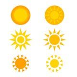 Beautiful symbol set of the sun. stock images
