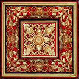 Beautiful, Symetrical, Hand Carved and Painted, Wooden Relief Stock Images
