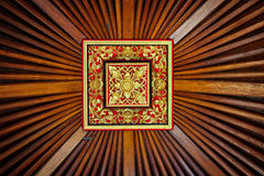 Beautiful, Symetrical, Hand Carved Wooden Ceiling Tile with Live Royalty Free Stock Image