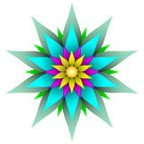 Beautiful symmetric geometric flower vector illustration. Sharp geometric flower style design, bold colors, perfectly symmetrical for use as a background royalty free illustration