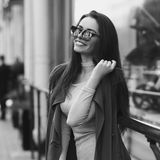 Beautiful syulish woman walking at city street Royalty Free Stock Photo