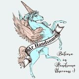 Beautiful T-shirt print vector design with blue unicorn. Believe. In handsome unicorns royalty free illustration