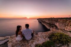 Beautiful Ta Cenc cliffs at sunset. Gozo, Malta royalty free stock photos
