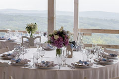 Beautiful table arrangement with mountain view Stock Image