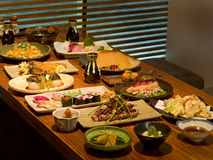 Beautiful table of Japanese food Royalty Free Stock Photos