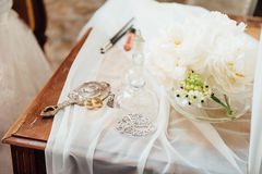 Beautiful table for the morning of the bride Stock Photo