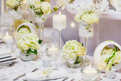 Beautiful table set for an event party or wedding reception Stock Image