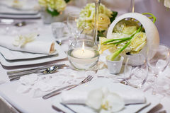 Beautiful table set for an event party or wedding reception Stock Images