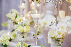 Beautiful table set for an event party or wedding reception Royalty Free Stock Photos