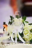 Beautiful table set with flowers Royalty Free Stock Images
