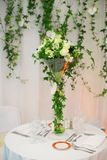 Beautiful table set with flowers Stock Image