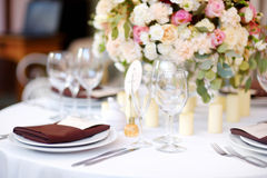 Beautiful table set for some festive event or wedding reception Stock Photos