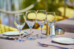 Beautiful table setting in a beach restaurant Royalty Free Stock Images