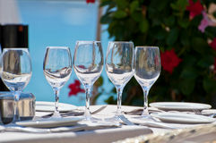 Beautiful table setting in a beach restaurant Stock Photo