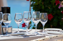 Beautiful table setting in a beach restaurant Stock Images