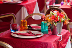 Beautiful table setting in a beach restaurant Royalty Free Stock Photo