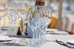 Beautiful table setting in a beach restaurant Royalty Free Stock Photography