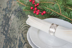 Beautiful table setting for the Christmas table Stock Photo