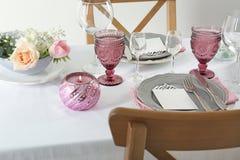 Beautiful table setting with cutlery. Beautiful table setting with silver cutlery Royalty Free Stock Image