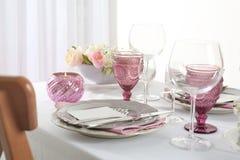 Beautiful table setting with cutlery. Beautiful table setting with silver cutlery Stock Photos