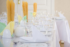 Beautiful table setting in a five star hotel. Stock Image