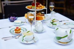 Beautiful table setting for high tea ceremony Royalty Free Stock Photos