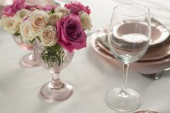 Beautiful table setting for an occasion. Close-up of beautiful table setting for an occasion Stock Photography