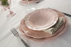 Beautiful table setting for an occasion. Close-up of beautiful table setting for an occasion Stock Photos