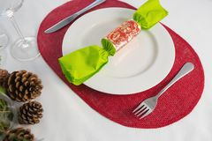 Beautiful table setting for an occasion. Close-up of beautiful table setting for an occasion Royalty Free Stock Photo