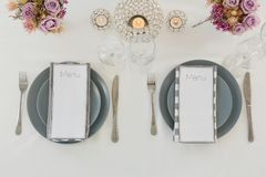 Beautiful table setting for an occasion. Overhead of beautiful table setting for an occasion Royalty Free Stock Photo