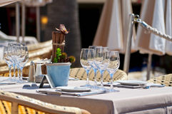 Beautiful table setting in an outdoor restaurant Stock Image