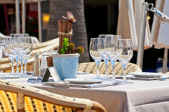 Beautiful table setting in an outdoor restaurant Royalty Free Stock Photography