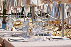 Beautiful table setting in an outdoor restaurant Royalty Free Stock Photo