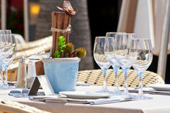 Beautiful table setting in an outdoor restaurant Royalty Free Stock Image