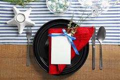 Beautiful table setting with   cutlery. Beautiful table setting with silver cutlery Royalty Free Stock Photos