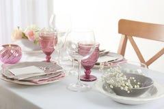 Beautiful table setting with cutlery. Beautiful table setting with silver cutlery Stock Photo