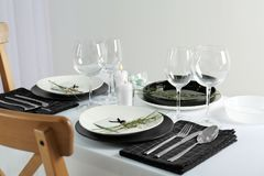 Beautiful table setting with cutlery. Beautiful table setting with silver cutlery Royalty Free Stock Photography
