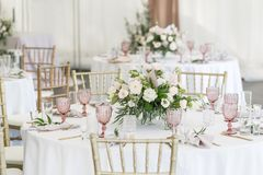 Free Beautiful Table Setting With Crockery And Flowers For A Party, Wedding Reception Or Other Festive Event. Glassware And Royalty Free Stock Photo - 113293495