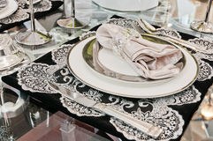 Beautiful tableware. On glass table stock images