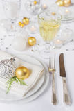 Beautiful tableware on Christmas table Royalty Free Stock Image