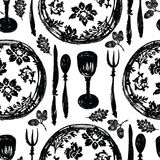 The beautiful tableware, the plates with patterns Royalty Free Stock Images