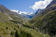 Beautiful Taesch valley in the swiss alps Stock Image