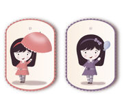 Beautiful tags with cute girl Royalty Free Stock Images