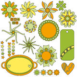 Beautiful tags, flowers, hearts and stars Royalty Free Stock Photo