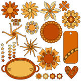 Beautiful tags, flowers, hearts and stars Royalty Free Stock Images