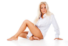 Beautiful Tanned Blonde Posing Stock Images