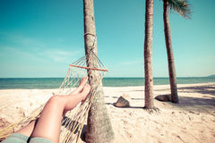 Beautiful Tanned legs of sexy women. relax on hammock at sandy tropical beach Stock Photography