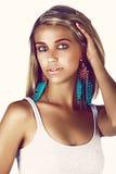 Beautiful tanned woman stock photos