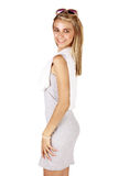 Beautiful tanned woman stock image