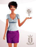 Beautiful tanned woman, full-length portrait. Colorful drawing o Royalty Free Stock Photography